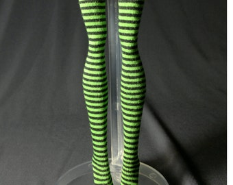Dolls stockings for Monster high doll  Black and green stripes   MH08