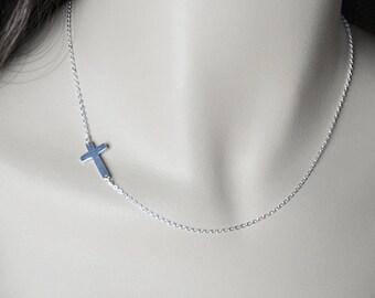 "18"" All Sterling Silver - Sideways Cross Necklace, Sterling Silver Chain, Celebrity Inspired Necklace"