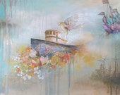 Yellow bird, boat, floral painting   limited edition print on wood with resin