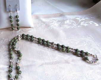 Necklace and Earring Demi Parure Set in Russian Serpentine and Sterling Silver