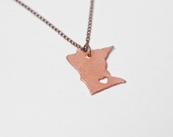 Minnesota Necklace - Copper Minnesota State Necklace Gold Minnesota State Shaped Charm Twin Cities State Love With Heart