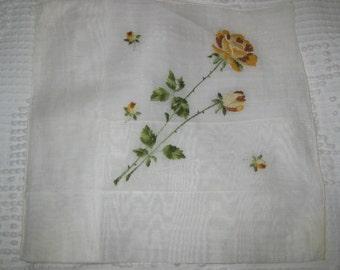 Vintage Cotton Embroidered Swiss Handkerchief