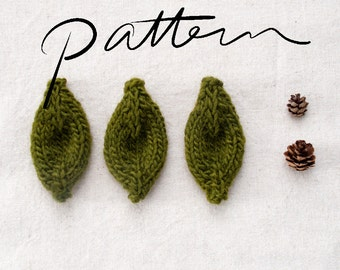 PATTERN - Knitting Pattern Digital Download - Knit Leaf - Knitting Pattern for Kids - Leaves - Accessory - Embellishment