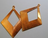 2 Vintage Copper Diamond Shaped Findings - for Earrings and Pendants