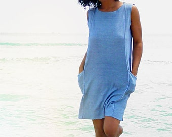 The Mysore above the knee shift dress. Organic cotton hemp. Made to order.