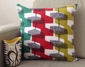 50's Barkcloth Cushion Pillow Vintage Atomic 1950s Fabric, Vintage Modern Decor