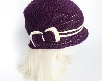 The Love Hat - Dark Purple and Cream Crocheted Cloche with bow clip