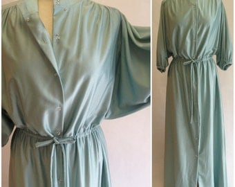 Vanity Fair Sage Hostess Gown | 1960s Vintage Robe Loungewear | Size Small