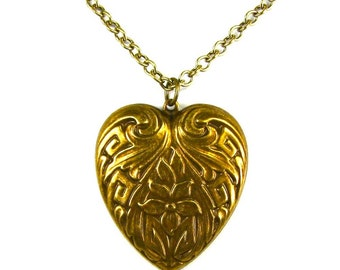 CLEARANCE 50% OFF Petite Art Nouveau Sweet Heart Necklace with Primrose in Antiqued Brass by Nouveau Motley