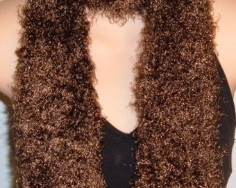 SALE Hand Knit Scarf Curly Eyelash Nylon Soft New Brown 48 inches