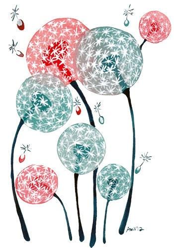 Watercolor Art Print Dandelion Dreams Floral Watercolour Artwork