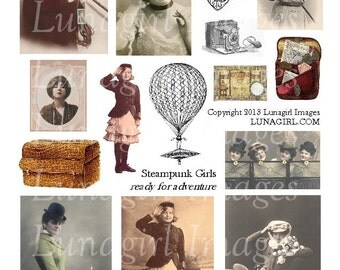 STEAMPUNK GIRLS digital collage sheet vintage images Victorian women ladies adventure photos altered art ephmera pictures monocle DOWNLOAD