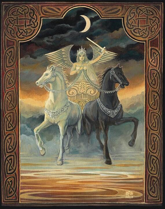 The Chariot Tarot Horse Goddess Art Original Painting