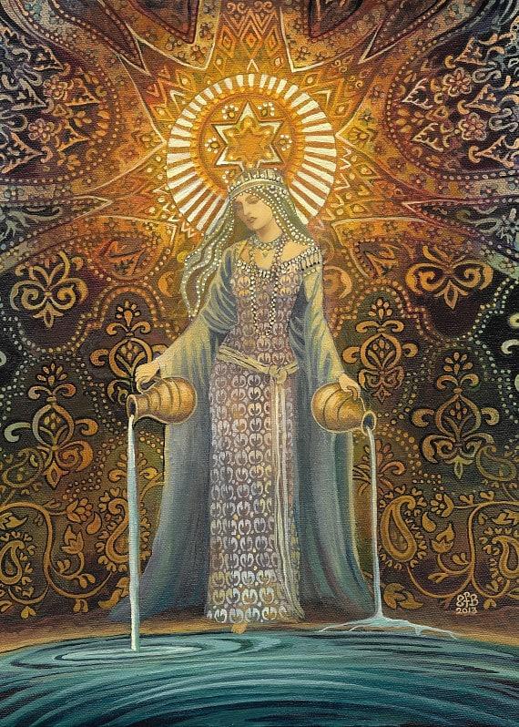 The Star Goddess Of Hope Mythological Tarot Art By