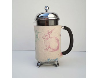 French Press Coffee Cozy - Woodland Animals Style -