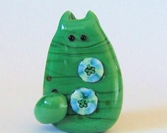 Cat Bead Handmade Lampwork Focal - Rory FatCat