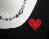 Red Heart Pin Crochet Puff Heart Pin