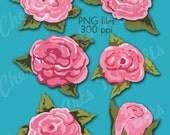 Handpainted Look Roses, Painted Roses, Instant Download, Vintage Roses Clip Art, Floral Art Graphics, Digital Download