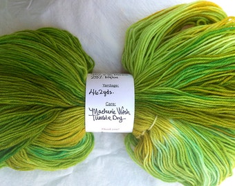 Hand Dyed Fingering Weight Sock Yarn 462 yards / Lime Green, Green & Golden Brown, Hand Dyed, Indie Dyer, Knitting Yarn