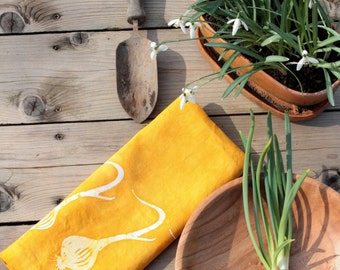 gift for the gardener yellow onions linen tea towel. made to order