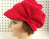 Unique Hand Knit Hat Women, Newsboy Hat, Women Cotton Hat, Brim Hat, Womens Hat, Red Hat Ladies, Ready To Ship