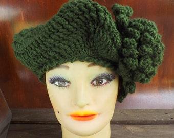 Crochet Beret Pattern, Crochet Pattern Hat, Crochet Hat Pattern, LYNETTE Crochet Beret Hat Pattern, Crochet Flower, Womens Hat