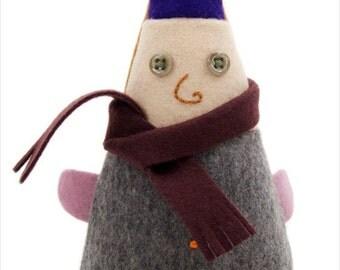 Plush Wool Elf, Small Felt House Gnome, Little Garden Gnome, Purple Elf Hat, Handmade Christmas Elf, Little Plush Elf, Cute Softie Elf, OOAK