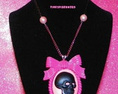 Hot Pink and Black Lolita Skull Necklace