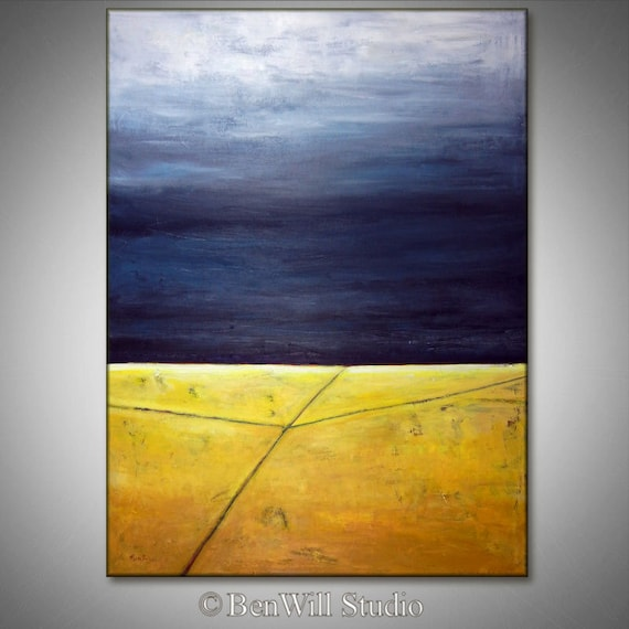 HUGE Abstract Painting ORIGINAL Modern Landscape Painting Yellow and Gray Contemporary Art, CROSSROADS 60x40 by BenWill