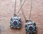 Turkish tile drop earrings, islamic jewelry, dangle earrings, Turkish jewelry, Tribal, Muslim jewelry, Iznik tile, world fashion