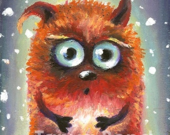 BLOBBY - cute red monster - surreal pop fantasy art - 5x7 print of an original painting by Tanya Bond