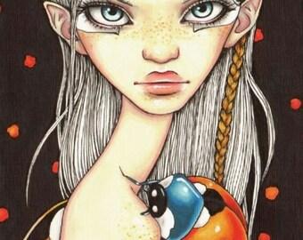 BRADYBUG - surreal pop fantasy art girl and ladybug ladybird - 5x7 print of an original painting by Tanya Bond