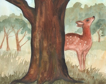 Original  Watercolor Painting - Fawn Tree