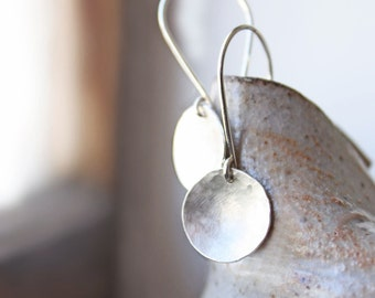sterling silver earrings, hammered disc round circles, silver jewelry full moon, gift for wife