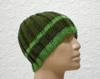 Olive kiwi green striped ribbed beanie hat, skull cap, hiker runner biker, ski snowboard, knit hat, toque, skateboard, men womens hat, chemo