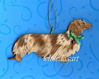 Custom Handpainted Long Haired Dachshund Christmas Ornament
