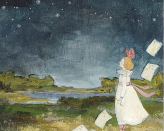 lucy counts the stars - giclee print  of original oil painting
