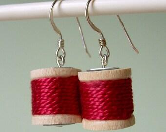 Earrings - Spools of Thread in Deep Red