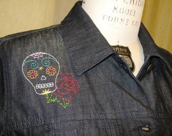 SALE!!!! Sugar Skull Jacket - black denim jacket with hand embroidered sugar skull