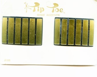 Black and Gold ACRYLIC STRIPED 1970s FRENCH Shoe Clips buckles Vintage new old stock Five Bucks