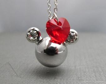 "Minnie Necklace // Silver Rhinestone Minnie Charm // Red Swarovski Crystal Heart // 17"" Silver Chain Necklace // Disney Inspired"