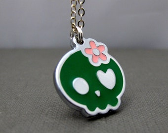 """CLEARANCE - Sweet Skull Necklace // Green Skull with Pink Flower Charm // Heart Eye // 17"""" Silver Plated Chain // Gift under 10"""
