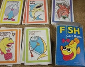 Vintage Fish Card Game, to play or use in Scrapbooking, Collage