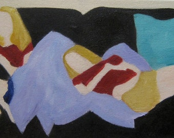 Couch Original Oil Painting on Canvas 8 in X 16 In