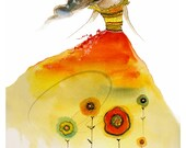 Aphrodite Rising - Watercolor Art Giclee Print Red Flower Summer Autumn Fashion Sketch Girl Fairy Princess Available in Paper and Canvas