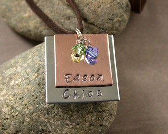Custom Message Necklace, 2 Names 2 Crystal Colors