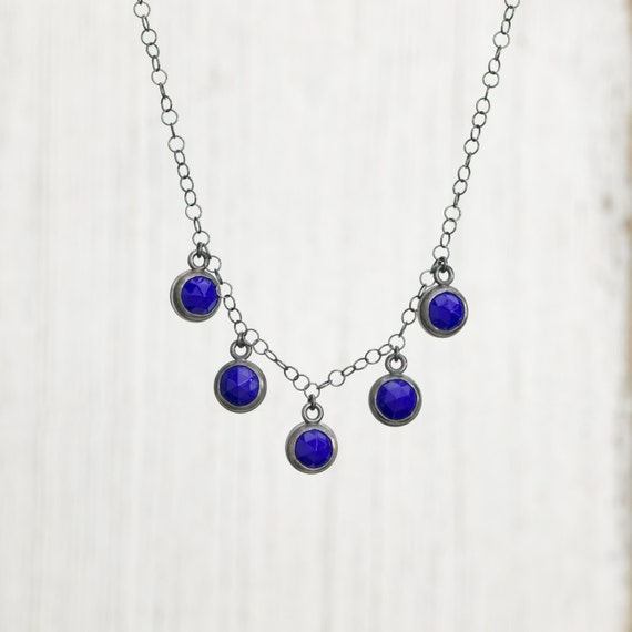 Faceted Antique Glass Button and Sterling Silver Necklace