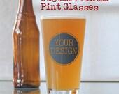 Custom Printed Pint Glasses - Your Artwork - Set of 8
