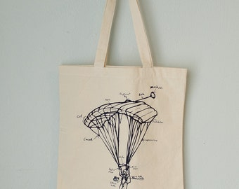 SALE PARACHUTE tote - screen printed canvas tote bag
