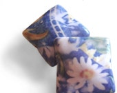Daisy Pillow Beads, Set, Polymer Clay, Flower Floral Print, Silk Transfer Dyed